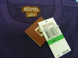 NWT Michael Kors Silk Crew Neck L/S Shirt Plum Large