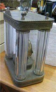 Thomas mantle clock   Working order Amazing metal / glass rods