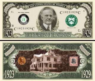 OUR 30TH PRESIDENT CALVIN COOLIDGE BILL (2/$1.00)