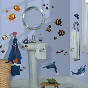 TROPICAL FISH WALL DECALS Dolphins Stickers Beach Home Ocean Sea Decor