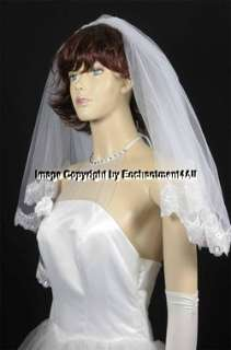 WHITE BRIDAL WEDDING EMBROIDERED LACE VEIL ELBOW 28