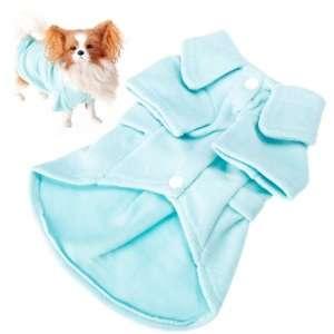 Fleece Pet Dog Coat Dress Apparel Light Blue   Size L