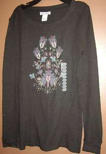 Lucky Brand Thermal Shirt Women Sz Medium Black