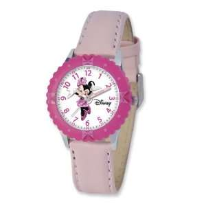 Disney Kids Minnie Mouse Pink Leather Band Time Teacher Watch Jewelry
