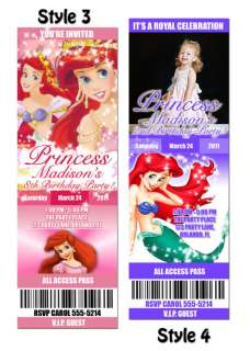 Disney Little Mermaid Birthday Party Invitation Ticket