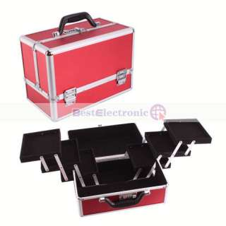 Red Lockable Handle Cosmetic Make up Train Case Bag Box