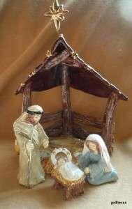 Blue Sky Heather Goldminc 6 Piece Ceramic Nativity 2009 Retired Rare