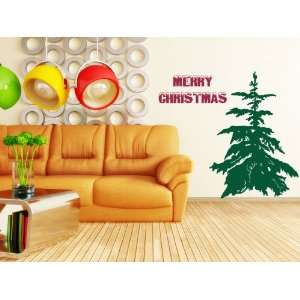 Tree Merry Christmas text wall decal sticker quote art