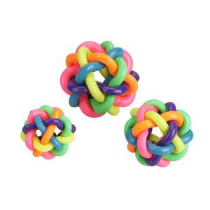 Pet Dog Cat Rainbow Color Rubber Bell Ball Toy