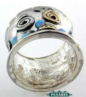 Impressive 14k Yellow Gold & Silver Blue Opal Ring