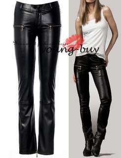 Black Leather Zippers Skinny Pants AU Sz 6 16 w1457