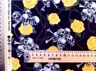 yellow rose skull tattoo punk retro art funky fabric FQ