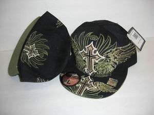 NEW HAT CAP FITTED MMA GOLD YELLOW BLACK CROSS 7 1/8 M