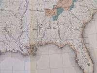 1889 USA UNITED STATES AMERICA HUGE MAP. GILES LITHOGRAPH ORIGINAL