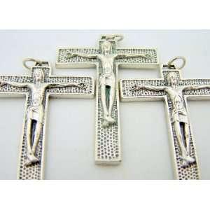 Catholic Crucifix Silver Gild Cross 1 3/4 Tau Jesus Christ: Jewelry