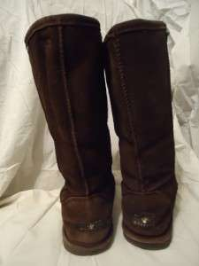 womens bearpaw chocolate brown tall winter boots size 7 w7 (118