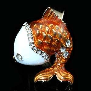 18k GP Orange Enamel with Swarovski Crystal Fish Adjustable Cute Ring