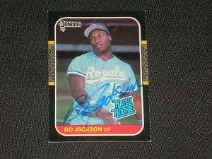 BO JACKSON 1987 DONRUSS ROOKIE SIGNED CARD #35 ROYALS