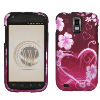 FOR SAMSUNG Galaxy S2 T MOBILE RUBBER PURPLE PINK BLACK SNAP ON SKIN