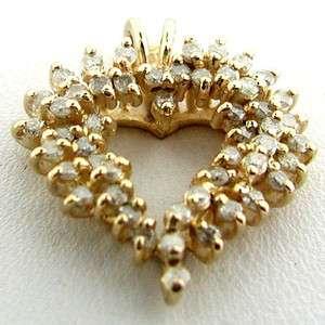ESTATE Vintage 14k Yellow Gold Artistic Diamond Set Heart Pendant