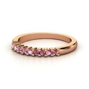 Slim Nine Gem Band Ring, 14K Rose Gold Ring with Rhodolite