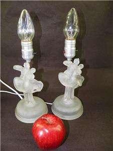 VINTAGE ART DECO PAIR BOUDOIR LAMPS FROSTED/SATIN GLASS DANCING COUPLE