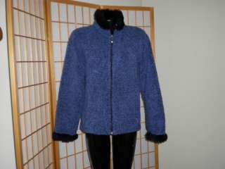 OBERMEYER CARDIGAN SWEATER JACKET VERY CUTE BLUE WITH BLACK FAUX FUR L