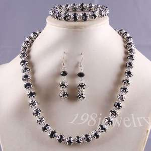 Black Swarovski Crystal Faceted Beads Necklace +Bracelet+ Earrings
