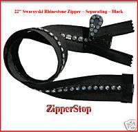 22 Swarovski Rhinestone Zipper ~ Separating ~ Black