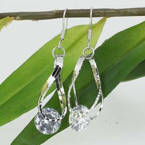WHITE SWAROVSKI CRYSTAL 18K CLASSIC DANGLE EARRINGS