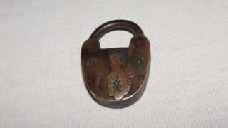 Unusual Antique Brass SECURE Padlock & Handcuff Bicycle Type Lock