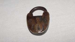 Unusual Antique Brass SECURE Padlock & Handcuff Bicycle Type Lock