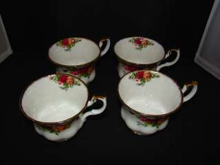 Royal Albert Old Country Roses 4 Tea Cups & Saucers Ruffled Sugar Bowl