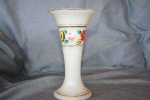 Bristol Glass Vase Hand Painted Flowers Fluted Top