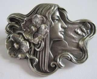 Vintage Art Nouveau Silveroin Lady Brooch