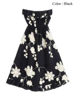 New Womens Floral Embroidery Summer Tube Dresses S   M