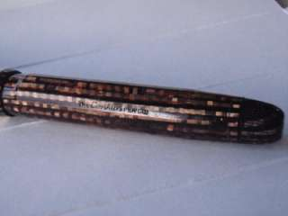 CUSHION POINT PEN GOLDEN BROWN BLACK STRIATED 14 LK NIB LARGE SIZE