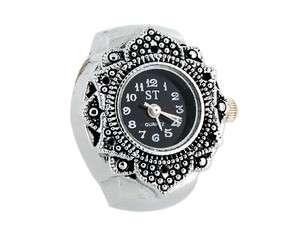 Mini Leaf Style Watch Dial Stretchy Watchband Finger Ring Watch Silver