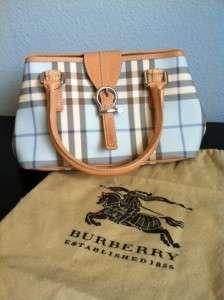 Authentic Burberry Baby Blue Nova Check Handbag Leather Tan Limited