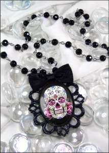 Dia De Los Muertos Pink Sugar Skull Gothic Punk Black Filigree