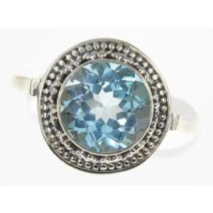 925 Sterling Silver BLUE TOPAZ Ring, Size 8, 5.61g
