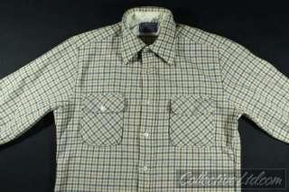 Vtg Pendleton Wool L/S Woven Shirt Plaid TAN Large L