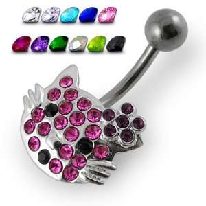 Multi Jeweled Kitty Non Moving Belly Ring Jewelry