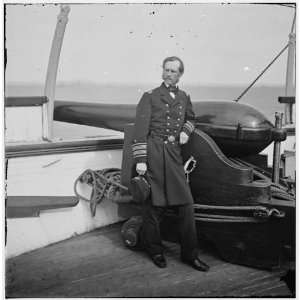 South Carolina. Rear Adm. John A. Dahlgren standing by a Dahlgren gun