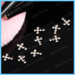 10pcs 3D Alloy Clear Rhinestones Cross Nail Art Glitters DIY