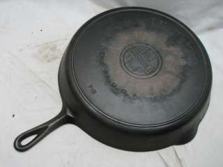GRISWOLD NO.12 CAST IRON SKILLET W/SMOKE/HEAT RING 719 BLOCK LOGO