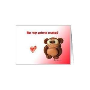 Cute Monkey Love Valentines Day Card Card
