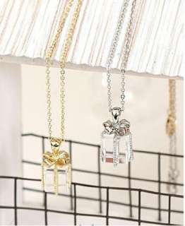 1pcs Korean Bow Gift Box Necklace Silver Chain A13 FREE SHIP