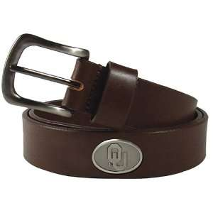 Oklahoma Sooners Brown Leather Concho Belt