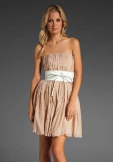 Haute Hippie Belted Strapless Pleated Chiffon Dress S NWT $595